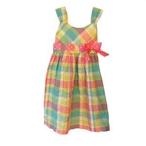 BONNIE JEAN Girl's Multi-colour Plaid Dress S 6X